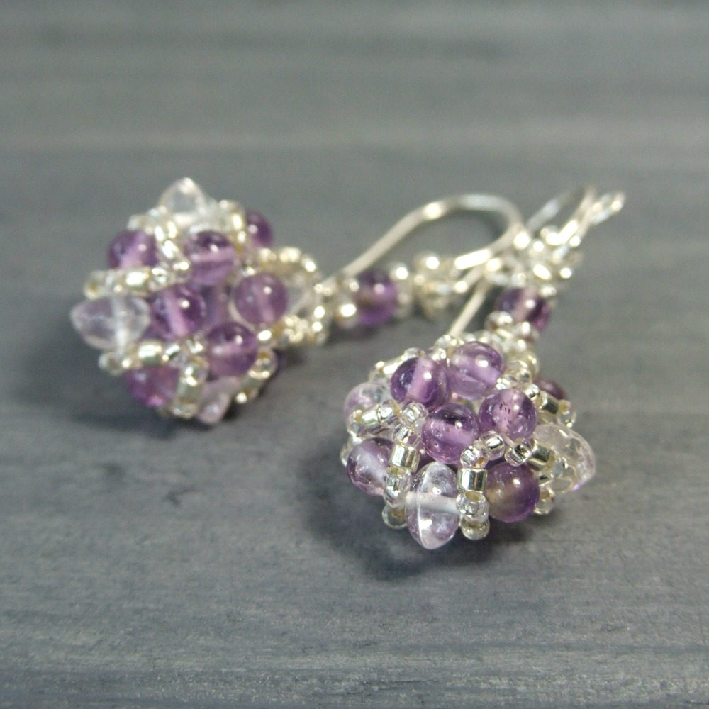 Quartz Crystal & Amethyst Earrings