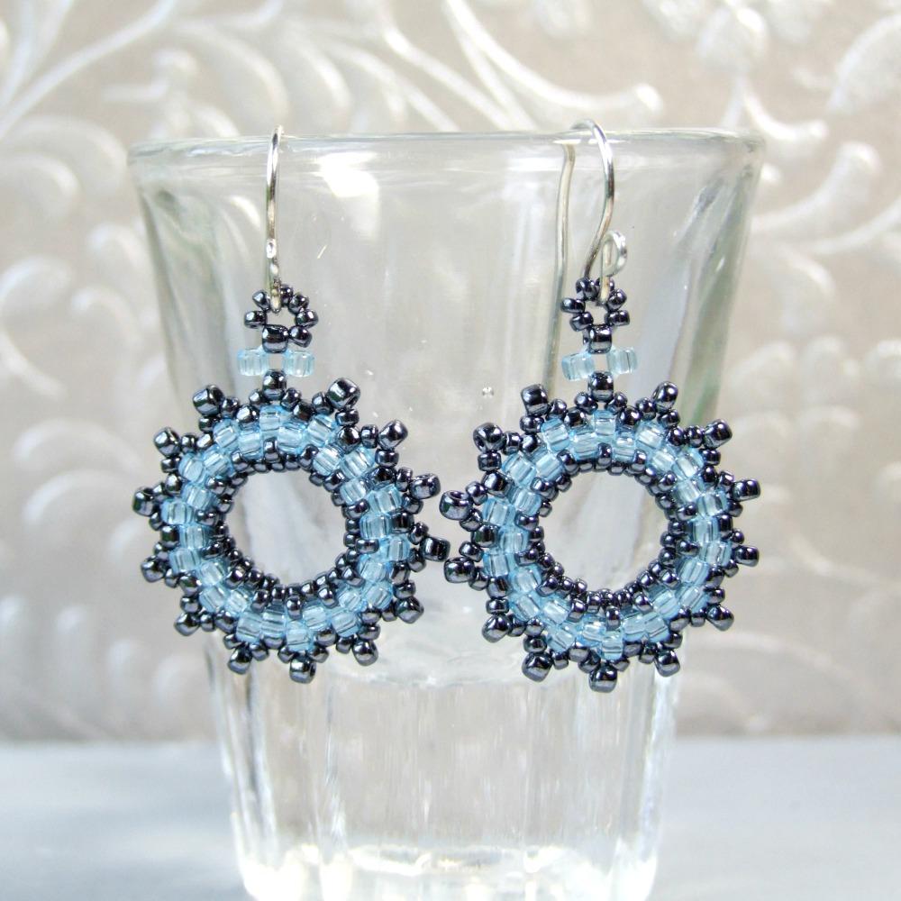 Blue Seed Bead Wreath Earrings