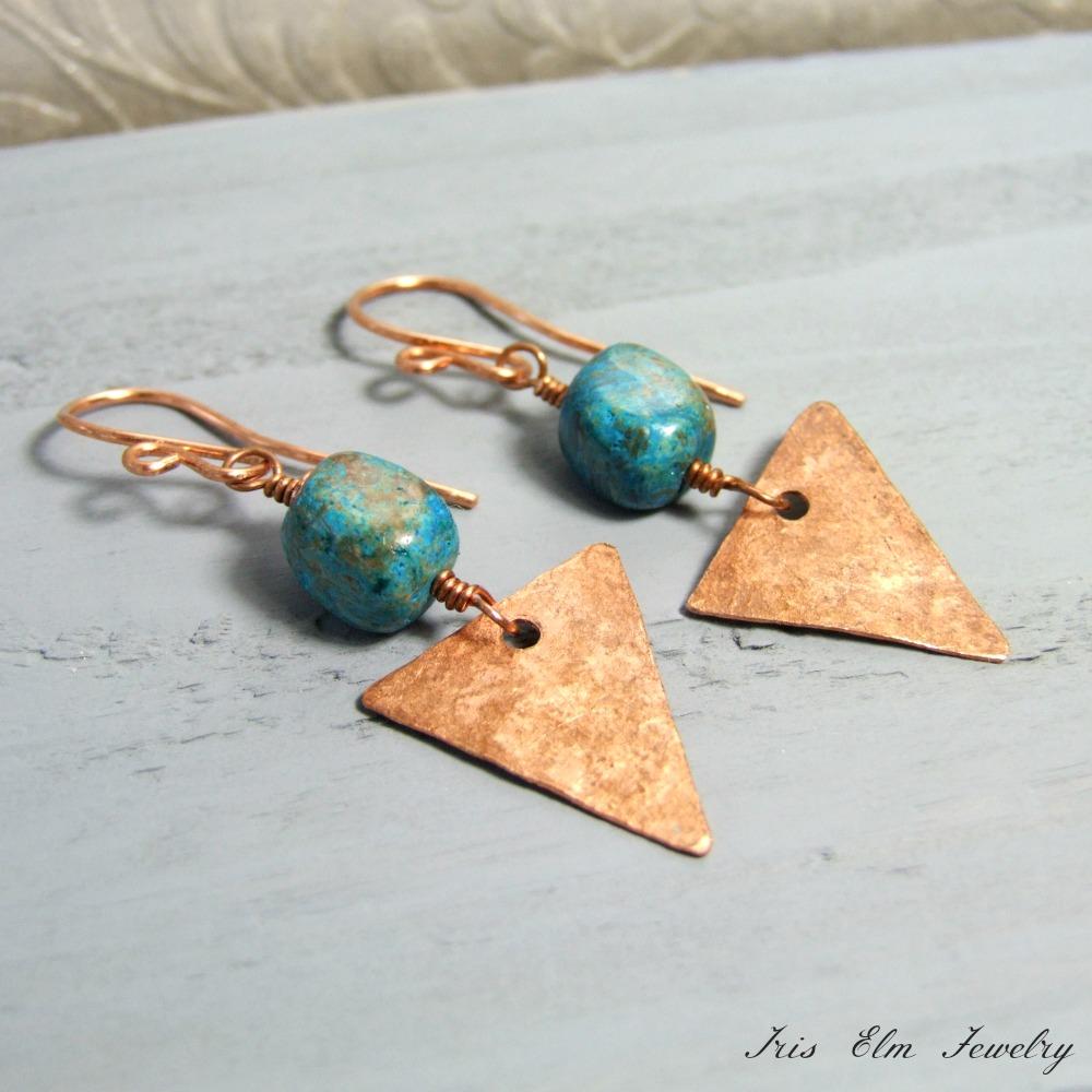 Blue Sky Jasper Copper Triangle Earrings