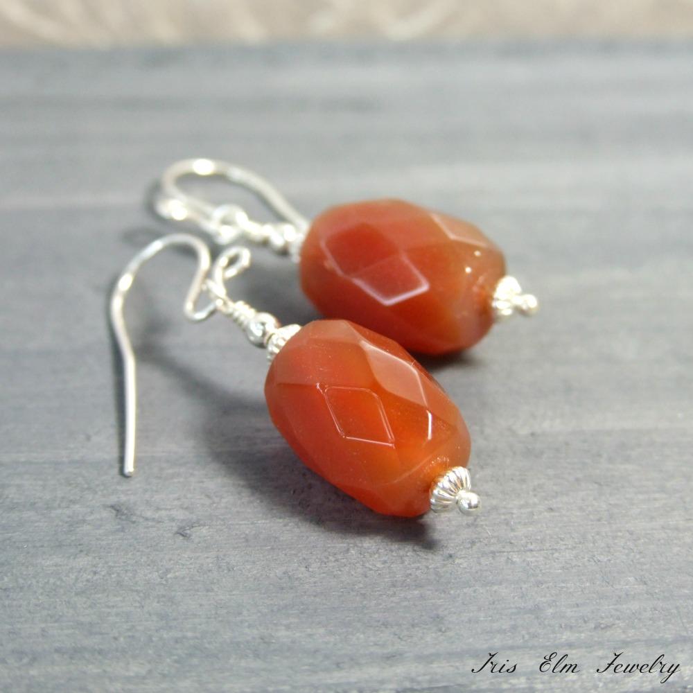 Sterling Red Agate Drop Earrings