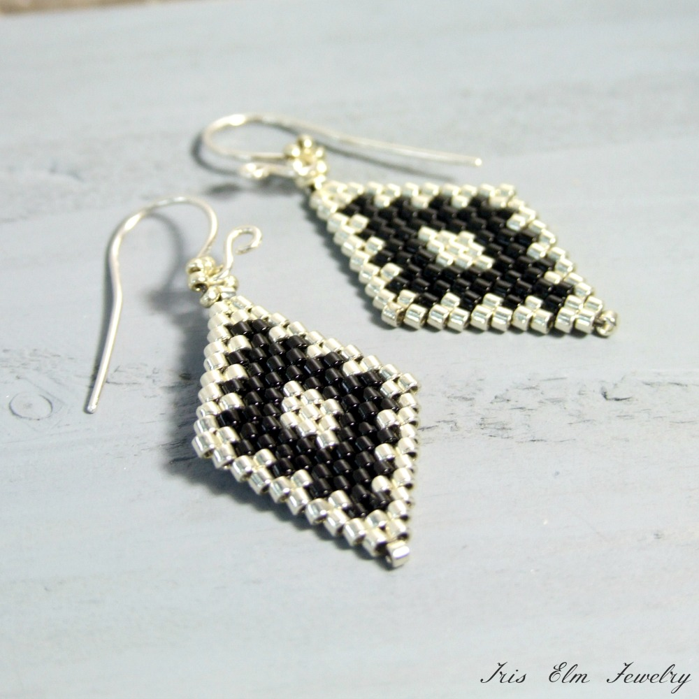 Silver & Black Diamond Bead Earrings