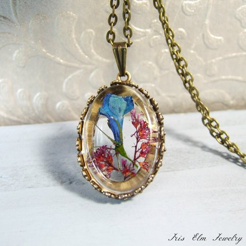 Real pressed flower pendant necklace iris elm jewelry unique real pressed flower pendant necklace mozeypictures Choice Image