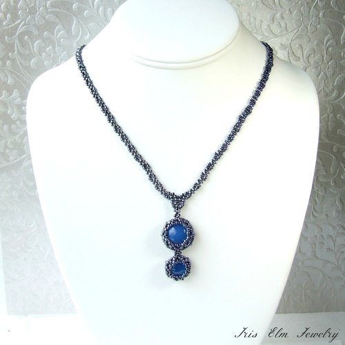 Blue agate beaded pendant necklace iris elm jewelry unique artisan victorian beaded pendant necklace aloadofball Choice Image