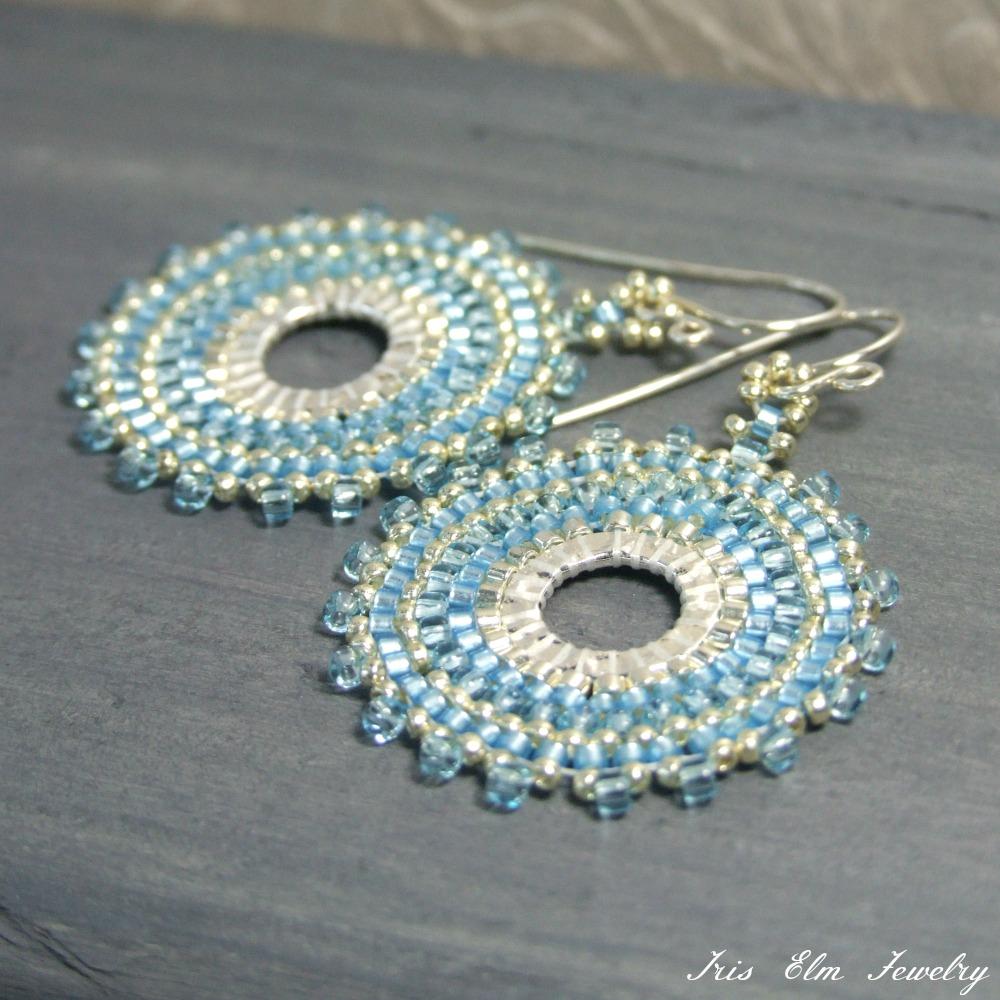 Sky Blue Seed Bead Hoop Earrings