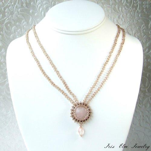 Victorian rose quartz pendant necklace iris elm jewelry unique victorian rose quartz pendant necklace aloadofball Images