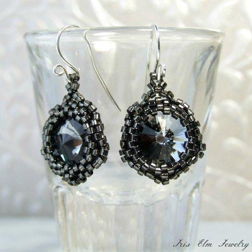 6031519ba Dark Smoke Grey Beaded Swarovski Crystal Earrings - Iris Elm Jewelry ...