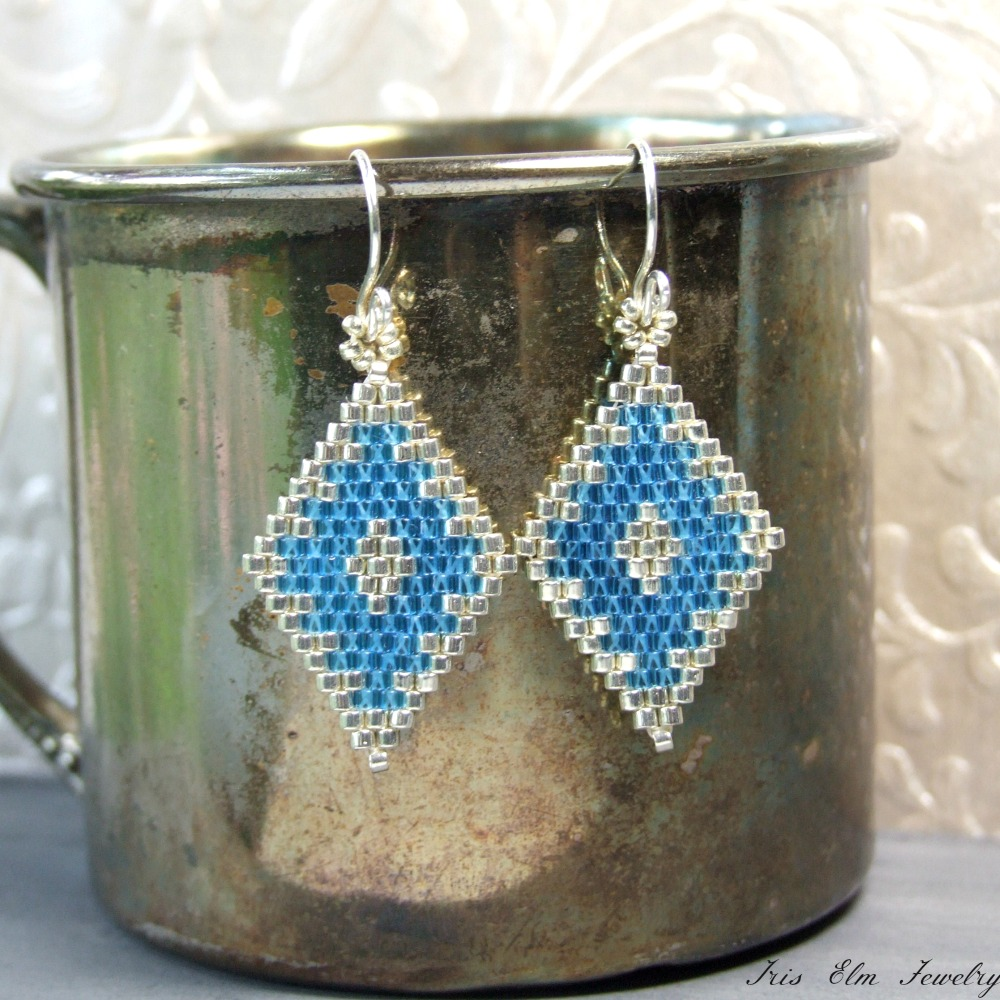 iris blue silver sterling small handcrafted earrings elm jewelry diamond beaded glass