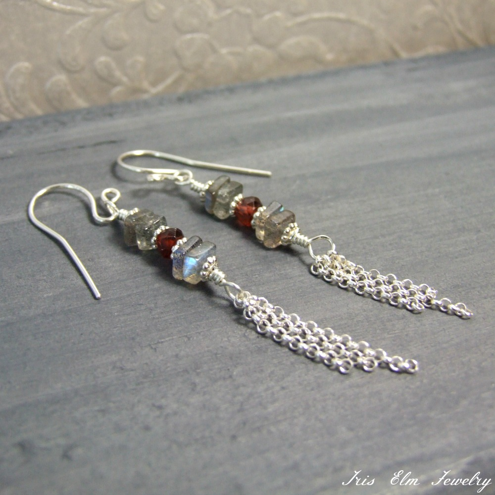 Labradorite & Garnet Sterling Tassel Earrings