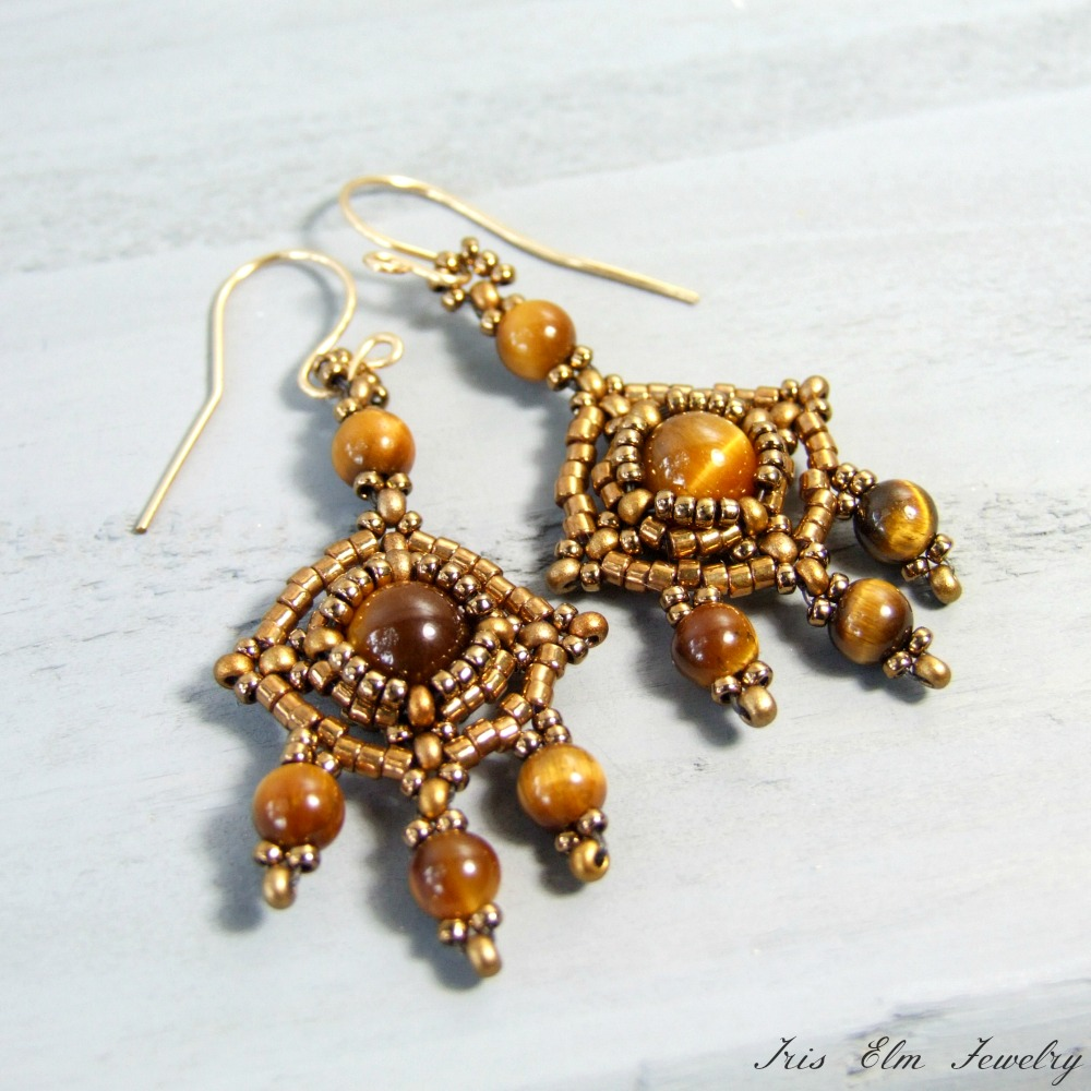 Boho Brown Tiger Eye Beaded Earrings