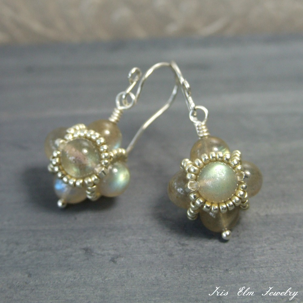 Iridescent Labradorite Beaded Drop Earrings