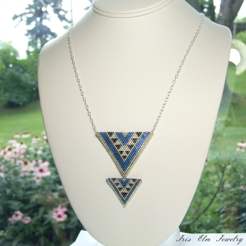 Blue Triangle Seed Bead Pendant Necklace