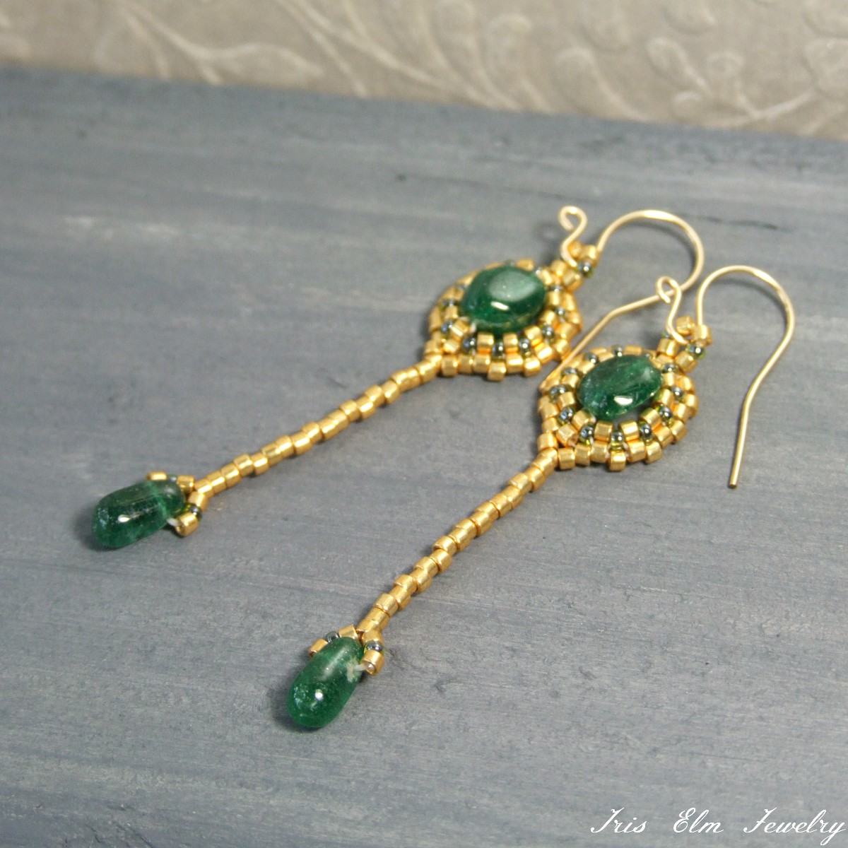 gold goldfilled art aventurine style emerald artisan elm earrings gemstone deco dangle jewelry green iris handcrafted
