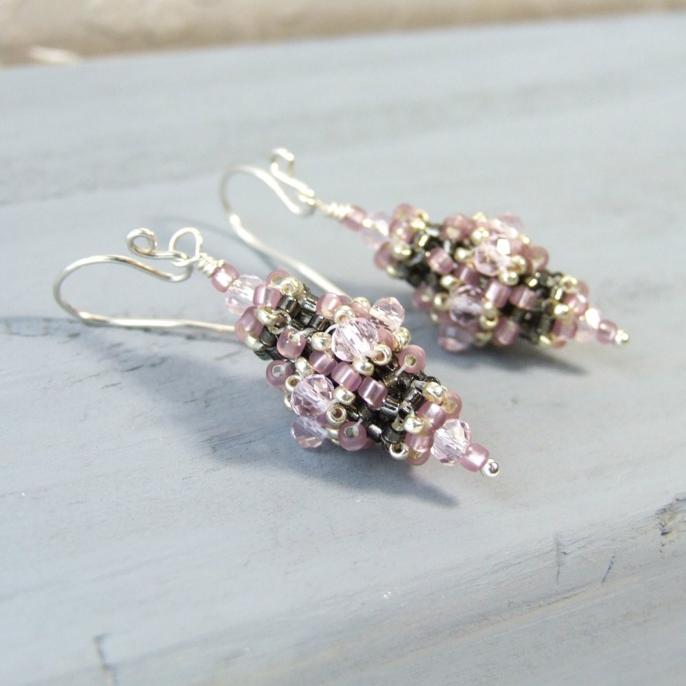 Lilac Pink & Grey Glass Victorian Beaded Earrings