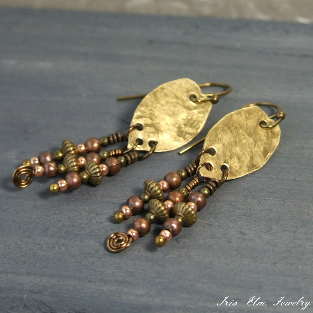 Boho Brass Metal Dangle Earrings