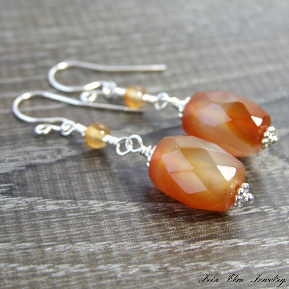 Sterling Red Agate Gemstone Dangle Earrings
