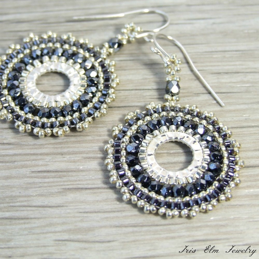 Dark Grey Faceted Czech Glass Hoop Earrings