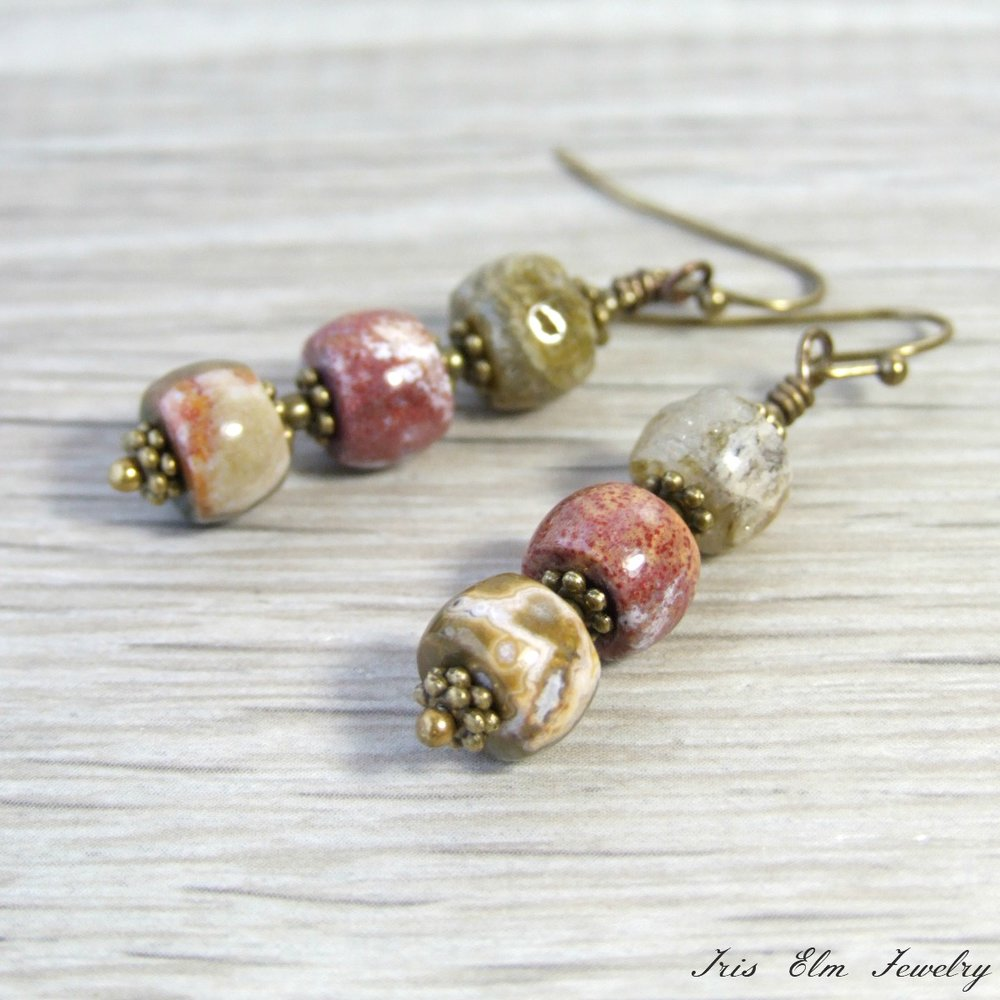 Antique Brass Ocean Jasper Earrings