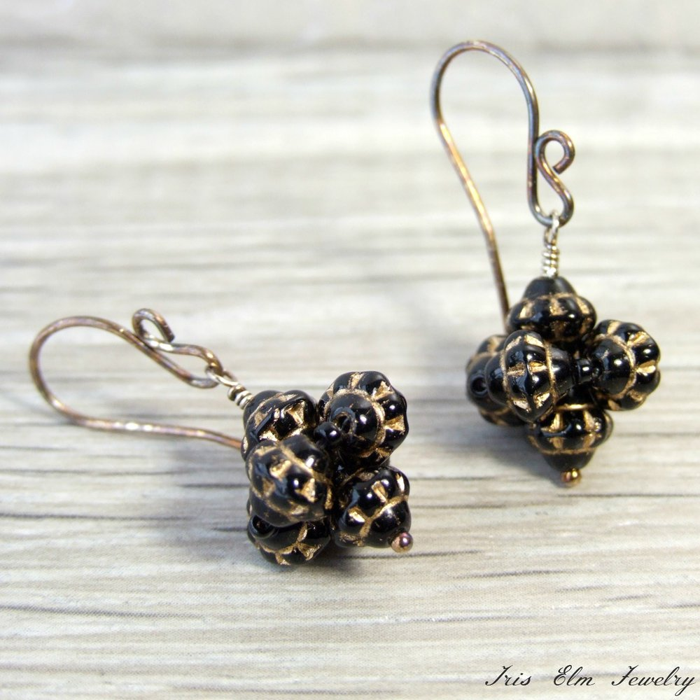 Black Glass Oxidized Sterling Drop Earrings