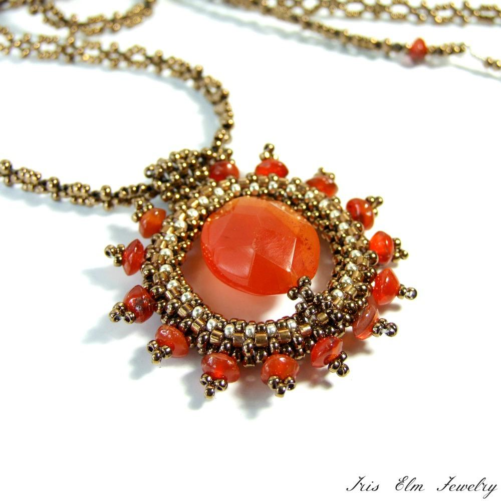 Long Carnelian Sunburst Pendant Necklace