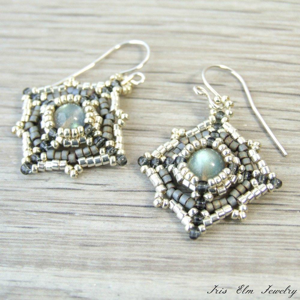 Boho Iridescent Labradorite Beadwork Earrings