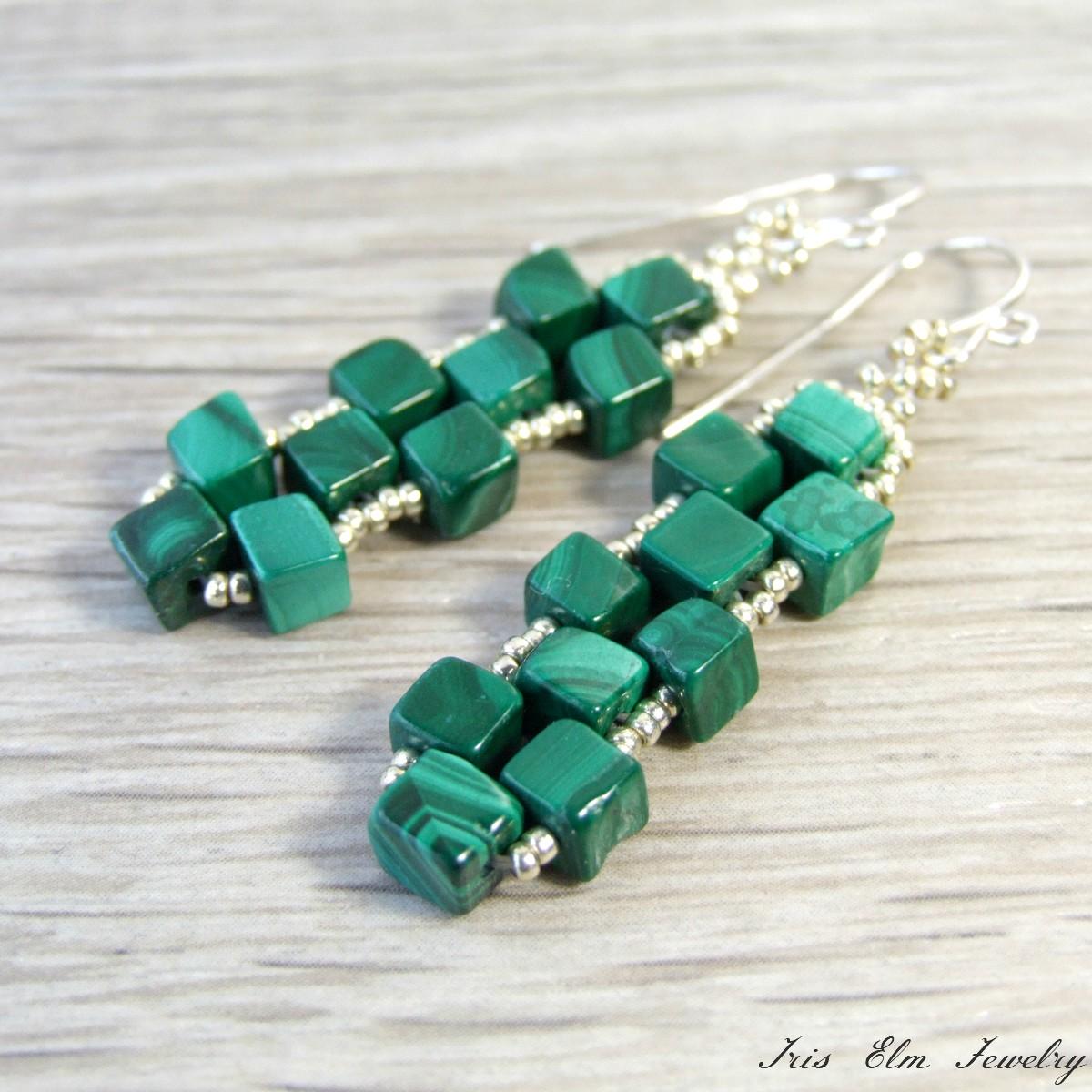 Genuine Malachite Cube Earrings - Iris Elm Jewelry   Unique Artisan ...