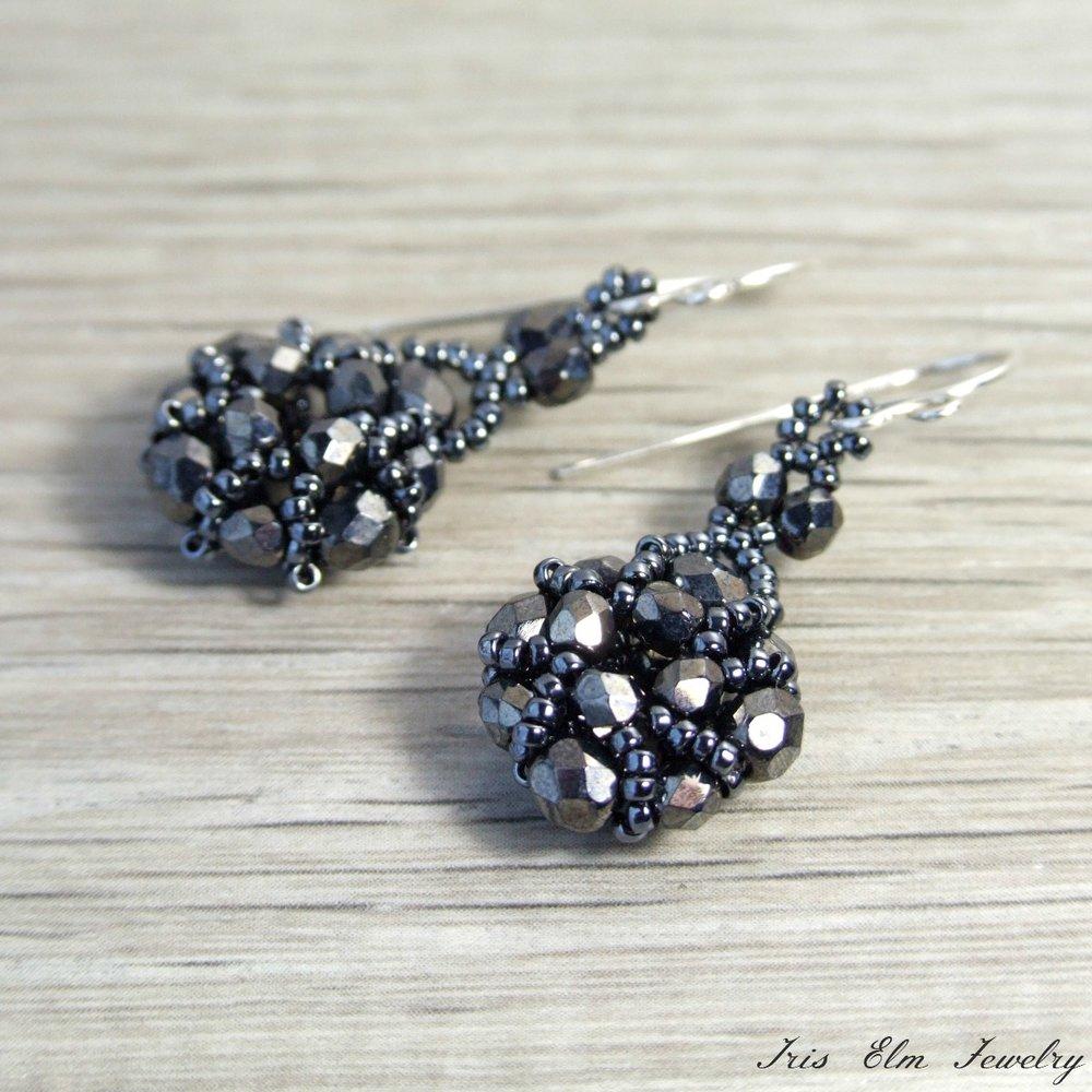 Victorian Dark Grey Czech Glass Earrings