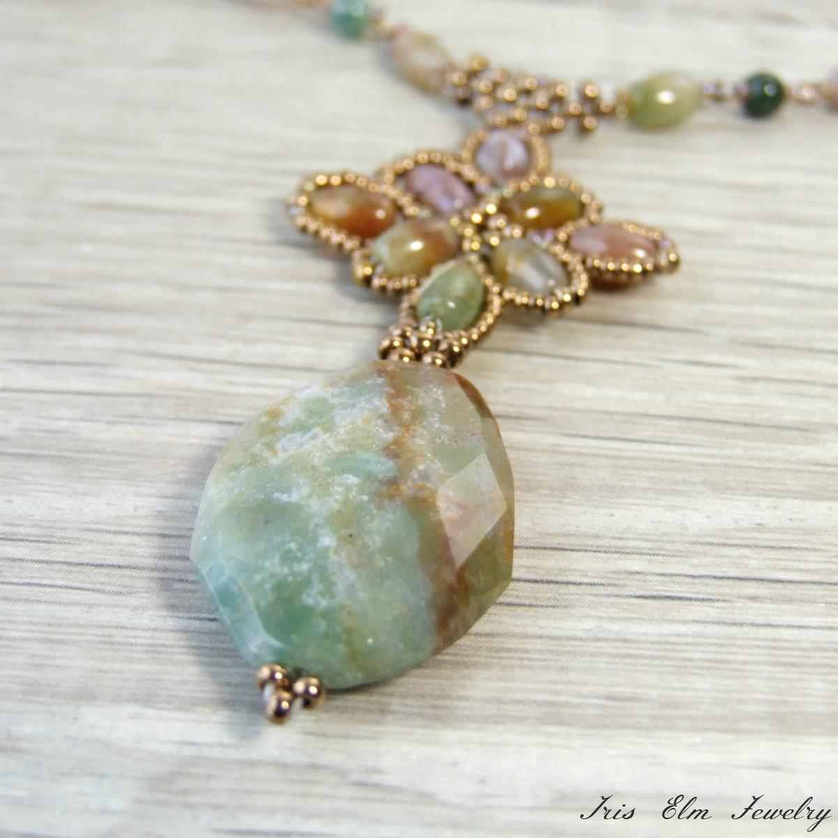 Beaded fancy jasper pendant necklace iris elm jewelry unique beaded fancy jasper pendant necklace aloadofball Images