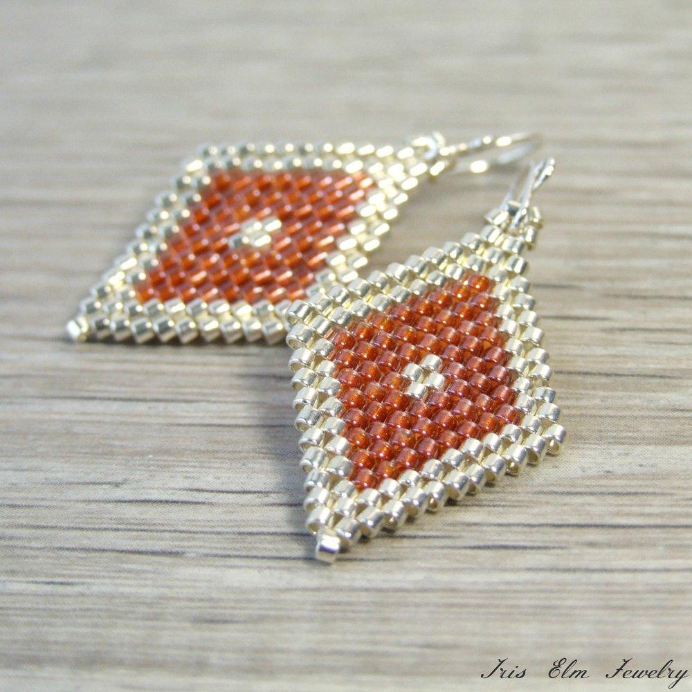 Pink-Copper & Silver Glass Diamond Bead Earrings