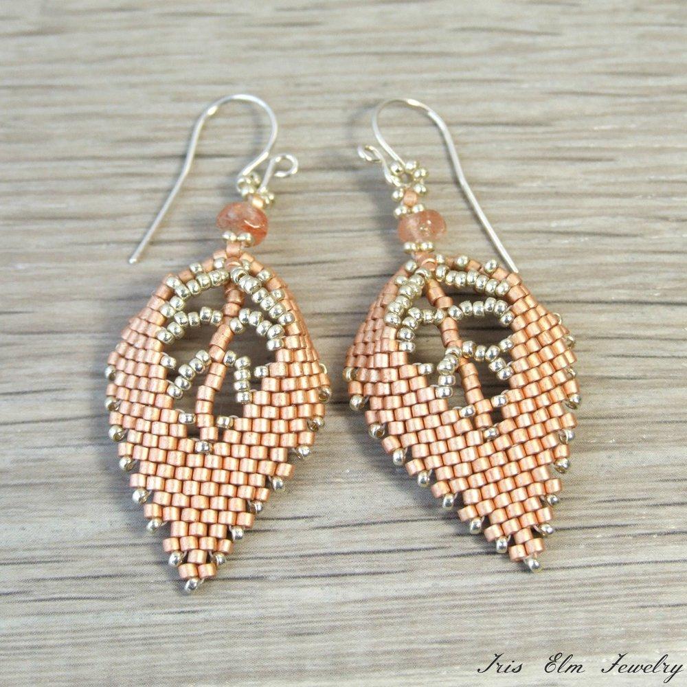 Copper Beaded Sunstone Leaf Earrings