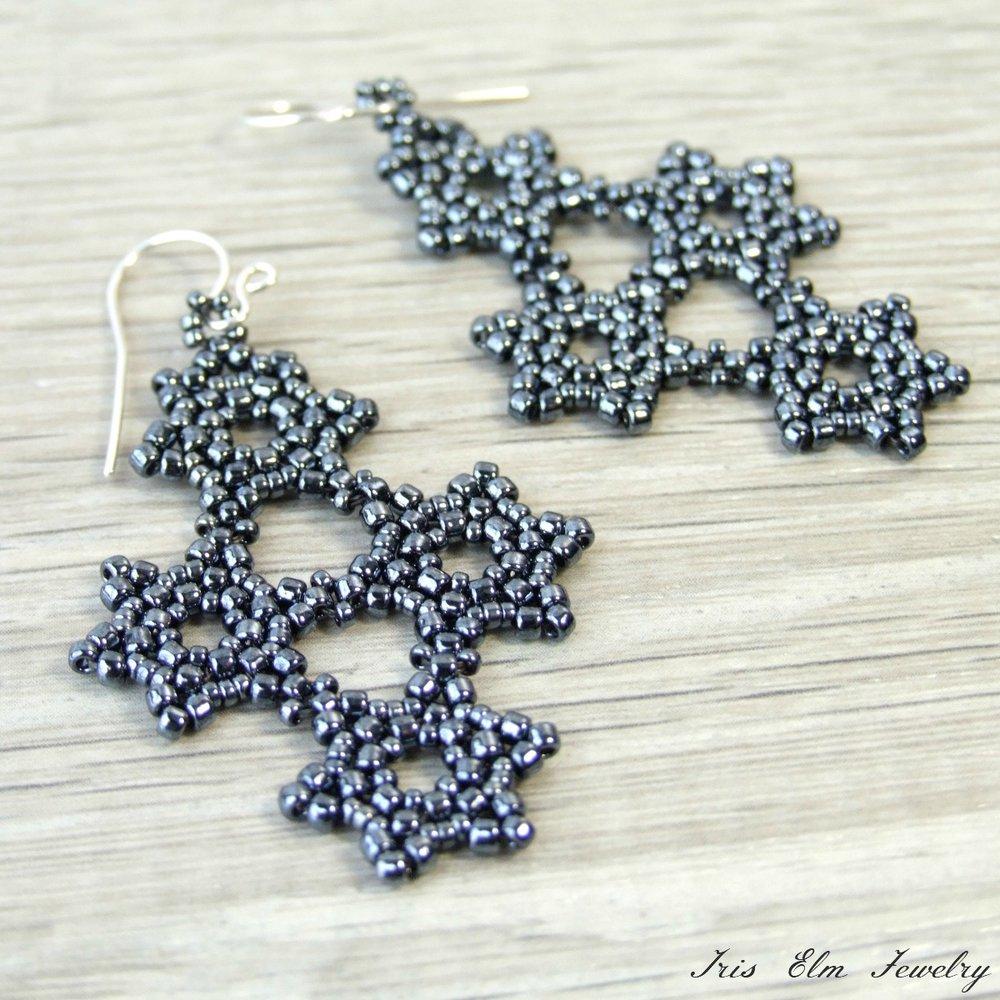 Charcoal Grey Snowflake Beaded Earrings