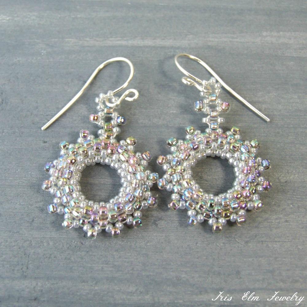 Iridescent Pastel Peacock Seed Bead Earrings