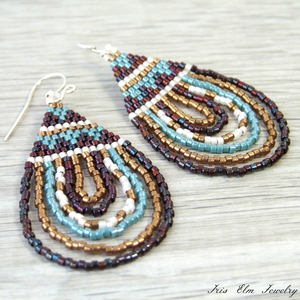 Bronze & Blue Bohemian Seed Bead Earrings