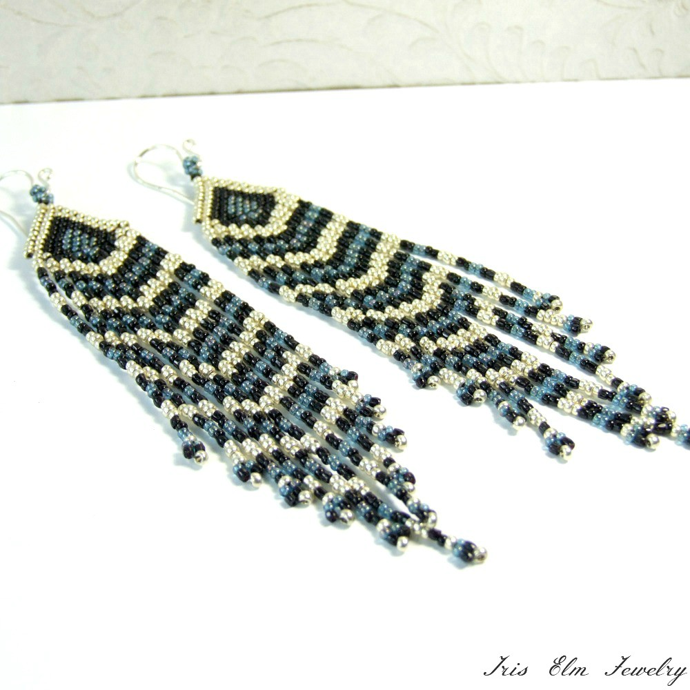 Blue, Black, & Silver Long Fringe Earrings