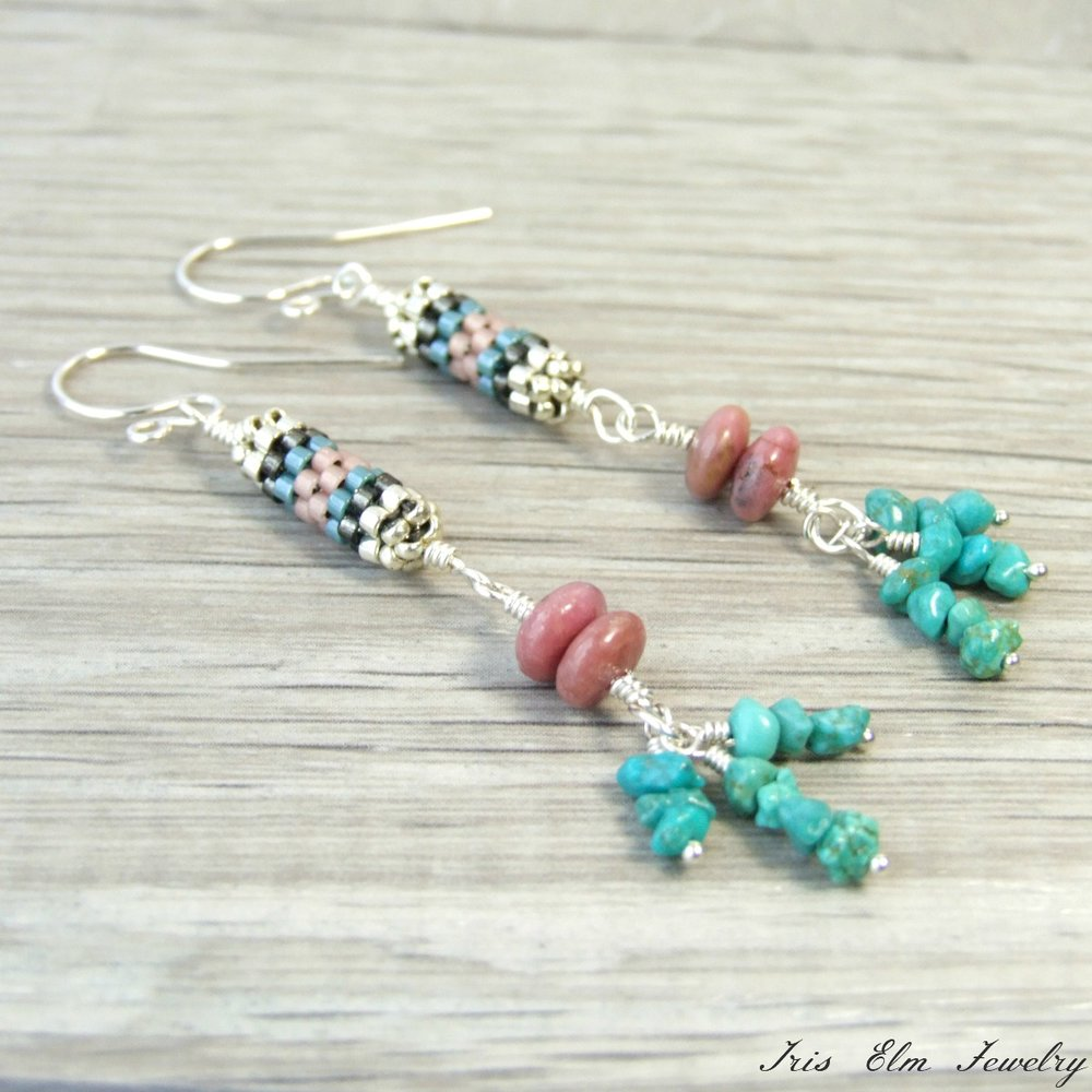 Rhodonite & Turquoise Boho Dangle Earrings