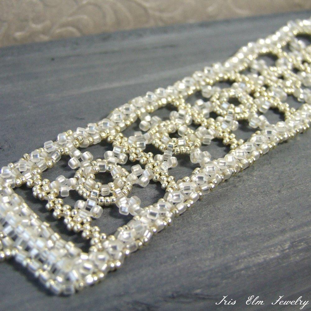 Winter White Beaded Snowflake Bracelet