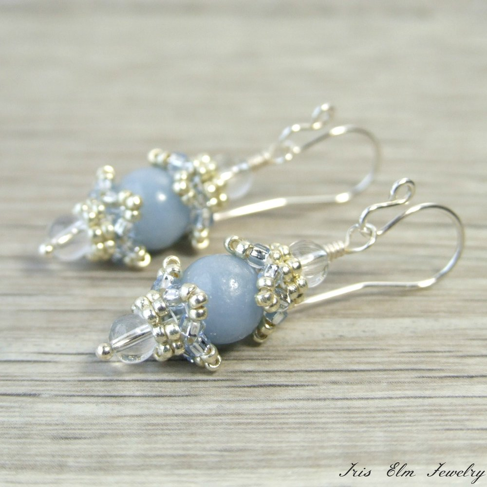 Elegant Light Blue Angelite Dangle Earrings