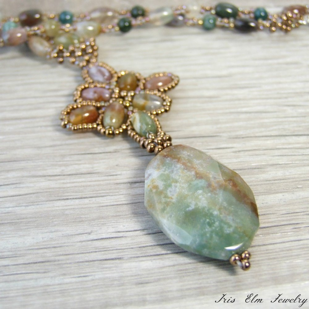 Beaded Fancy Jasper Pendant Necklace