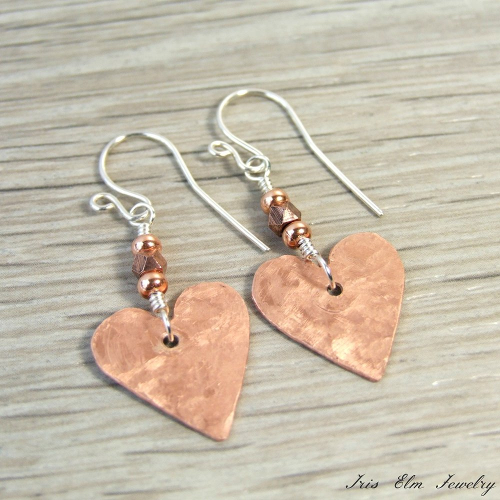 Copper Heart Dangle Earrings