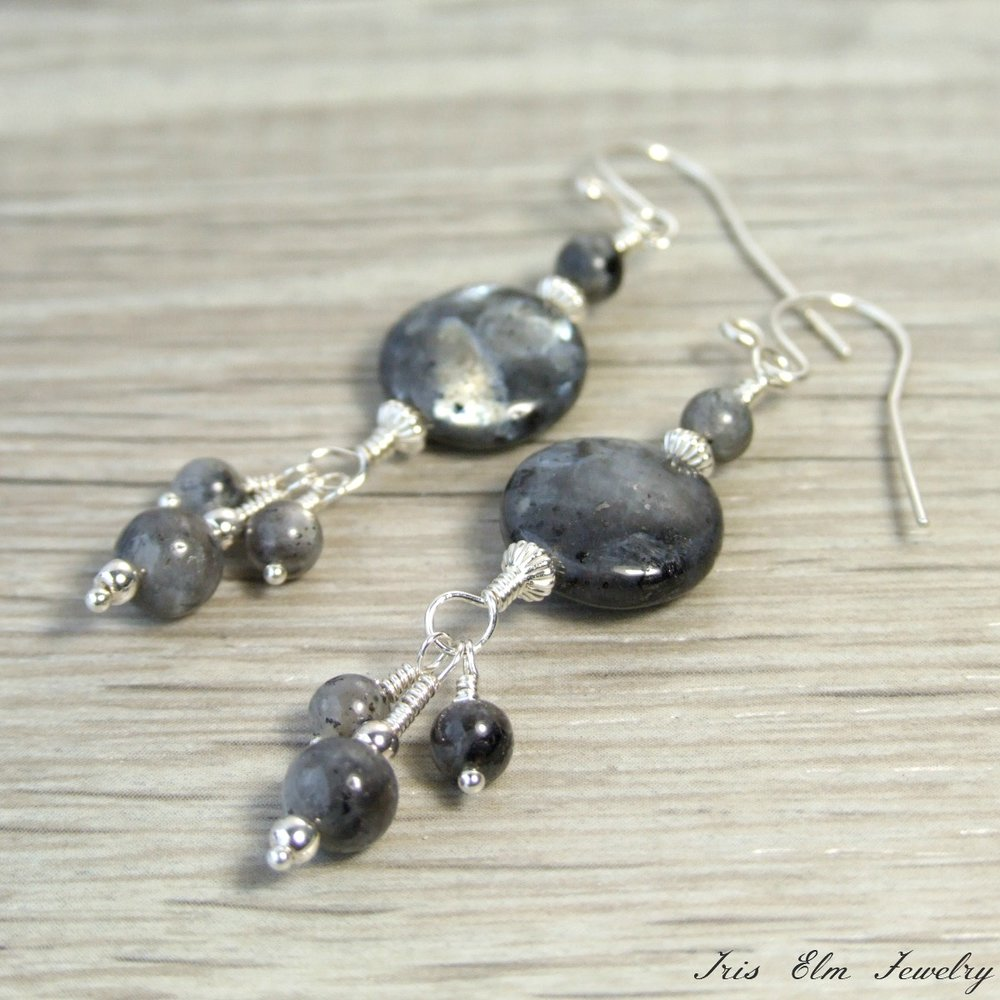 Sterling Grey Larvikite Dangle Earrings