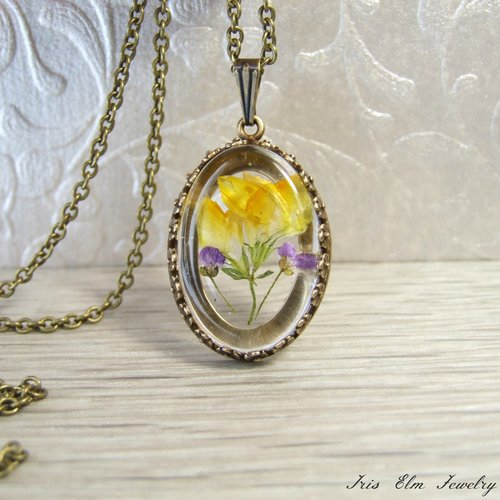 Yellow purple real flower necklace iris elm jewelry unique yellow purple real flower necklace mightylinksfo