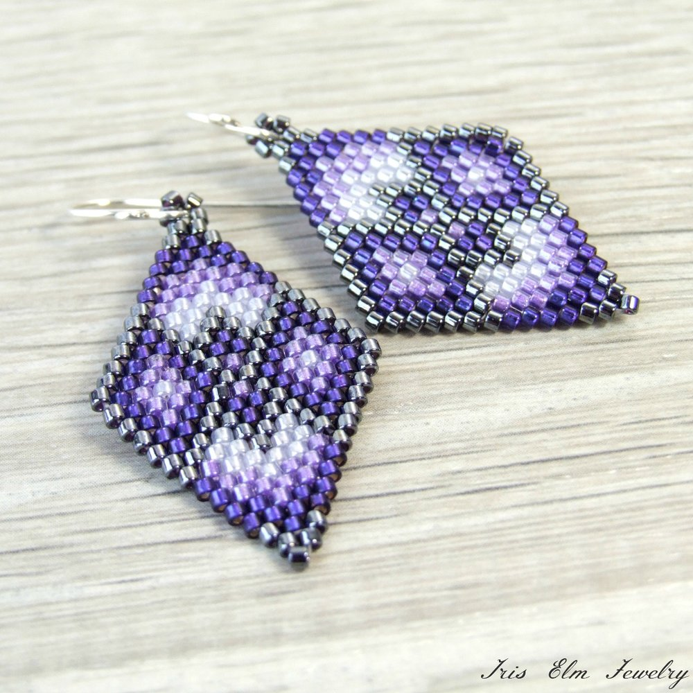 Purple Geometric Seed Bead Earrings