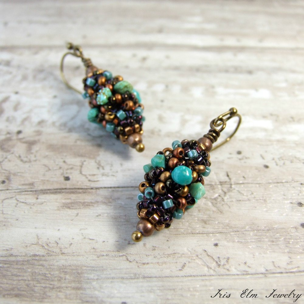 Genuine Turquoise Beaded Bead Earrings