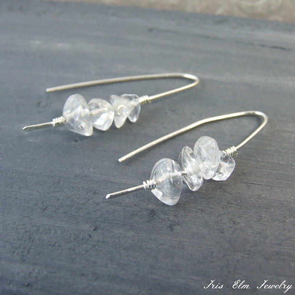 Sterling Quartz Crystal Threader Earrings
