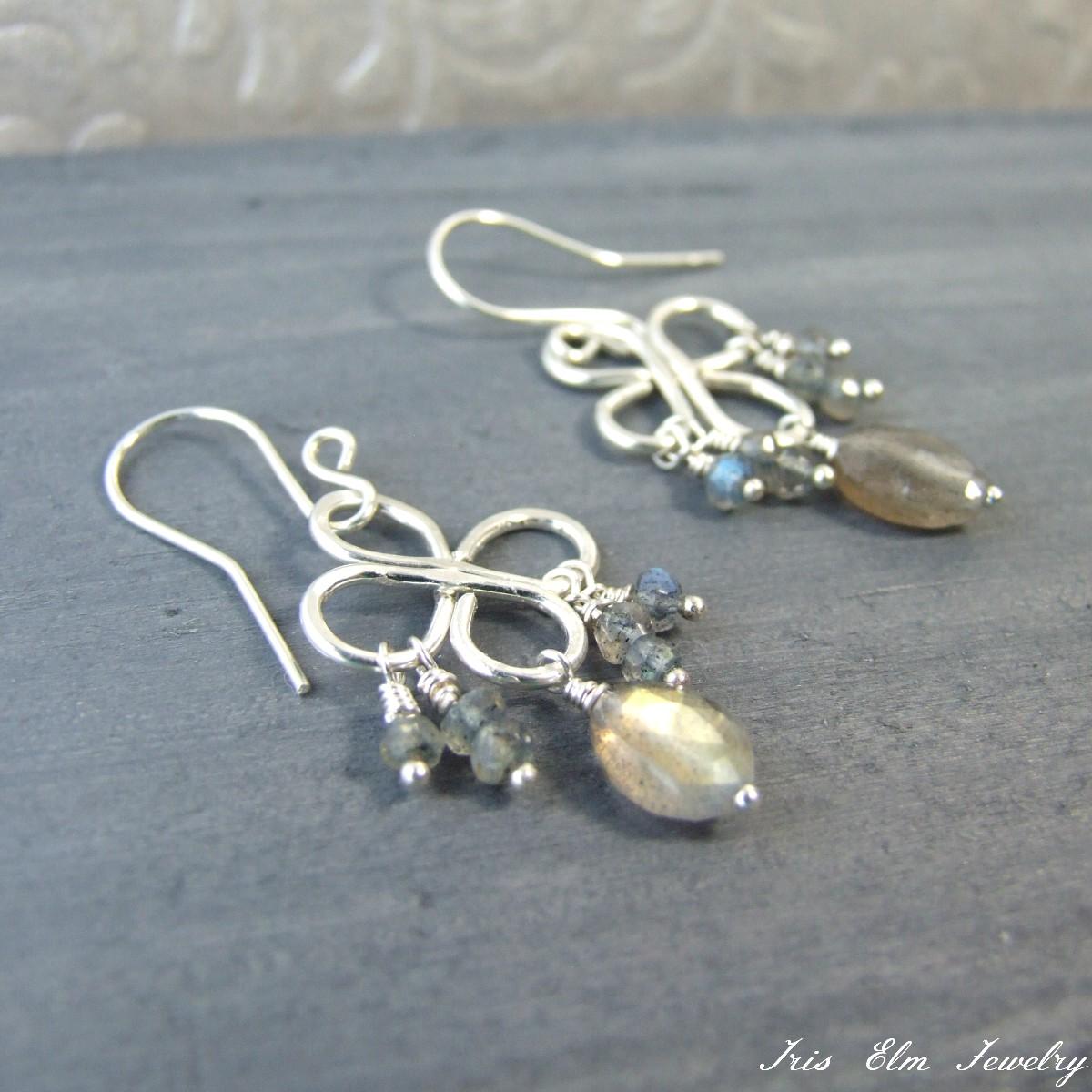 Labradorite Sterling Silver Chandelier Earrings - Iris Elm Jewelry ...