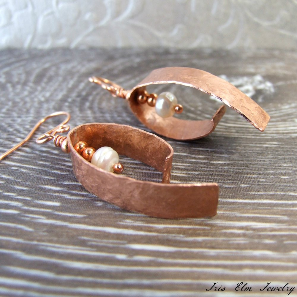 Handcrafted Copper & Pearl Earrings