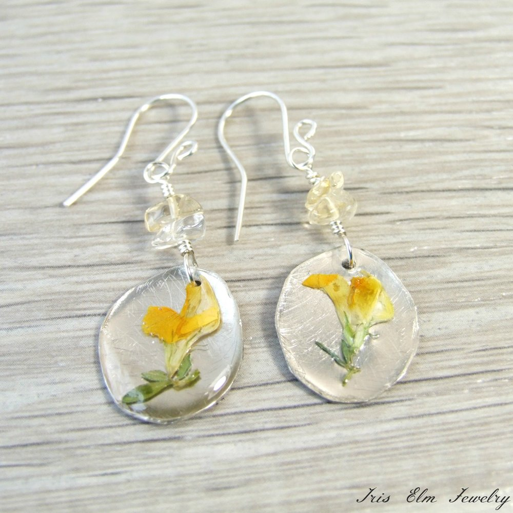 Citrine & Yellow Wildflower Earrings