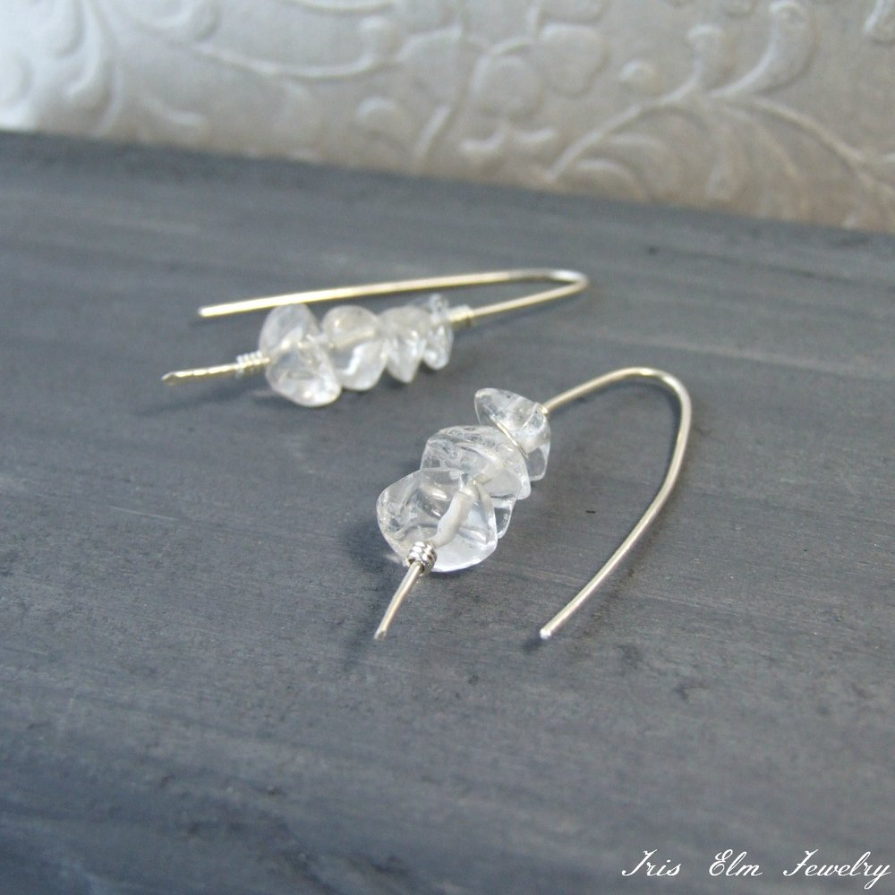 Sterling Quartz Crystal Threader Earrings