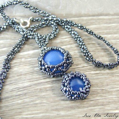 Blue agate beaded pendant necklace iris elm jewelry unique blue agate beaded pendant necklace aloadofball Images