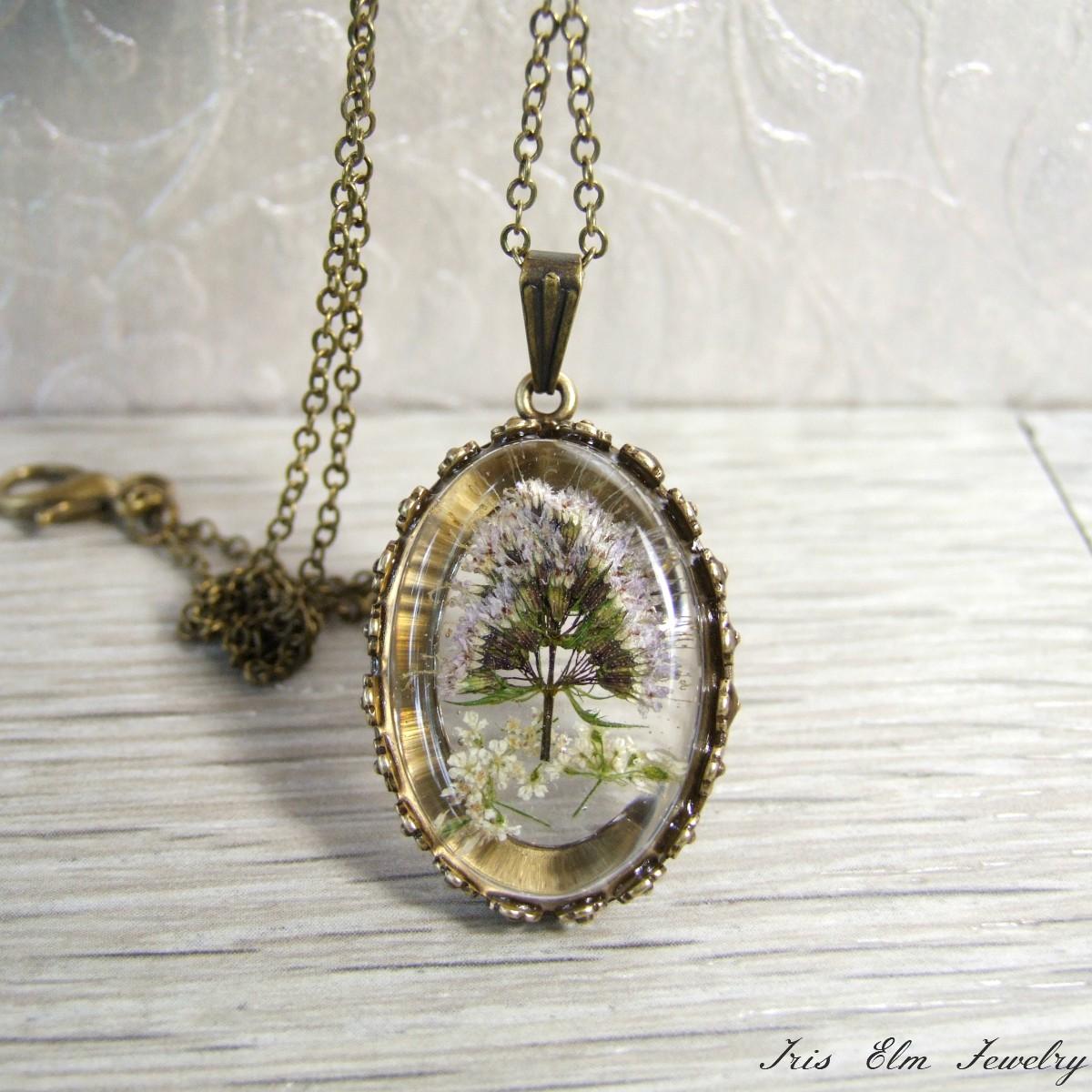 Mint Flower Pendant Necklace Iris Elm Jewelry Unique Artisan