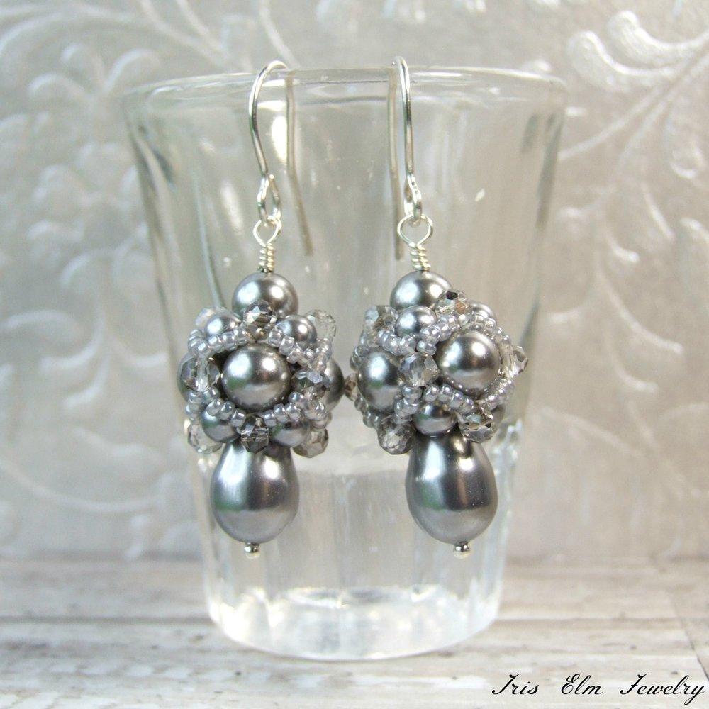Vintage Style Beadwork Grey Pearl Earrings